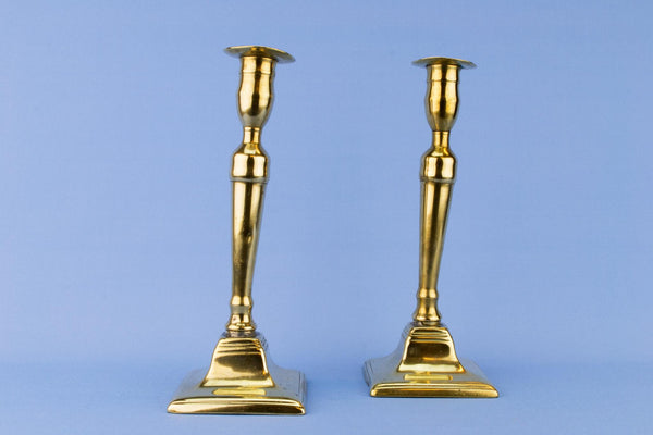 Pair of Brass Georgian Candlesticks, English Circa 1800
