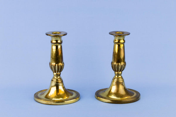 Pair of Small Brass Candlesticks, English 1930s