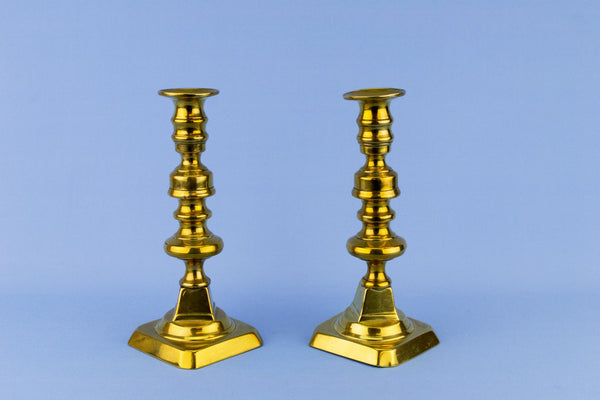 2 Brass Medium Georgian Candlesticks, English Early 1800s