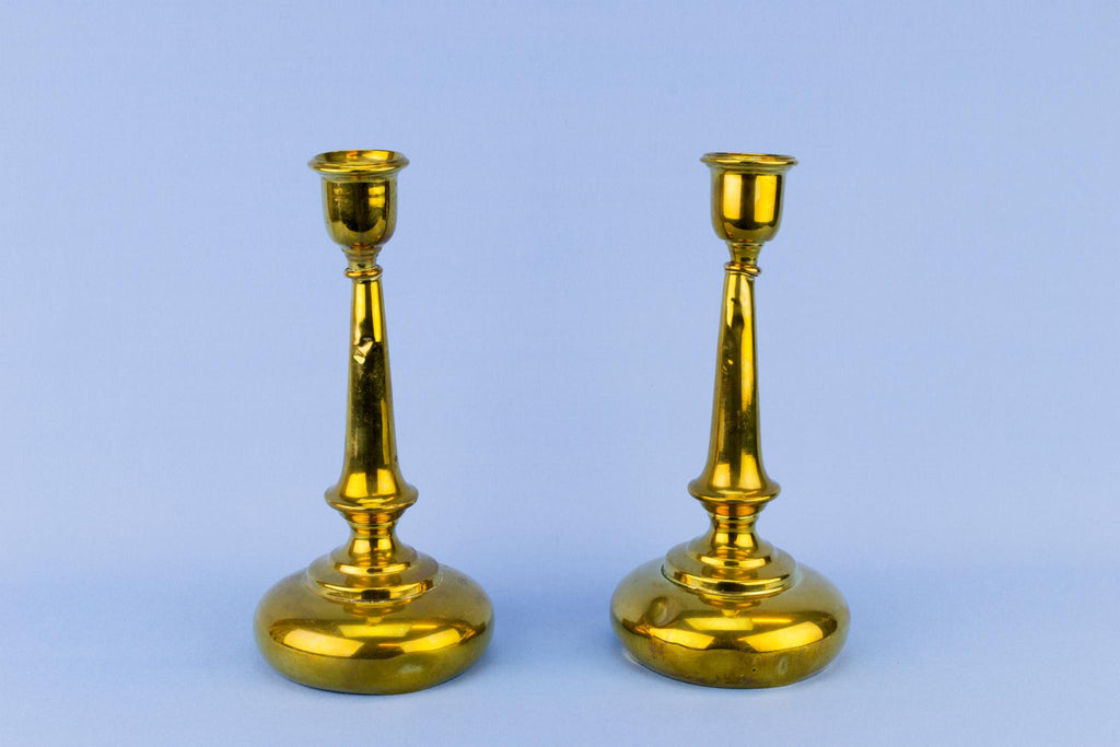 Pair Of Aesthetic Movement Brass Candlesticks, English 19th Century