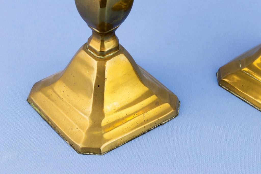 2 Brass Square Baluster Candlesticks, English 1930s