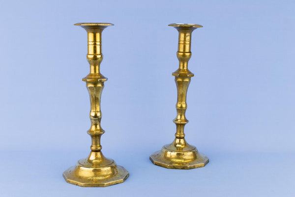Pair Of Panelled Brass Candlesticks, English Early 1900s