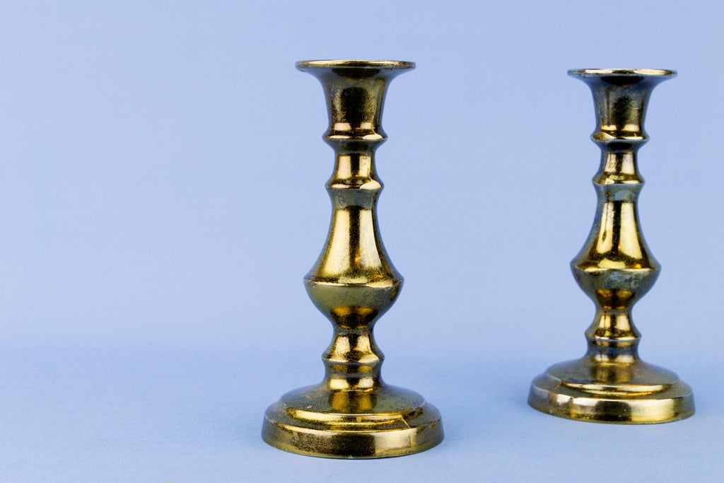 2 Small Brass Traditional Candlesticks, English Mid 20th Century