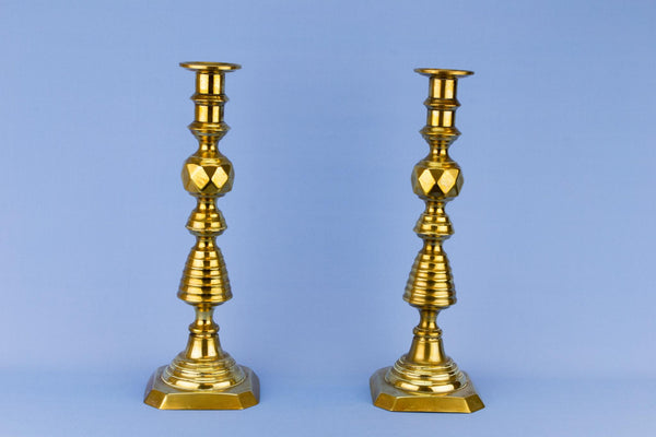 Pair Of Tall Brass Candlesticks, English 1870s