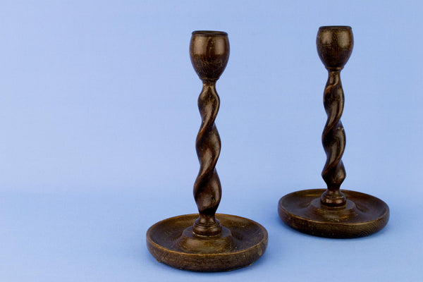 Pair Of Barley Twist Oak Candlesticks, English Early 1900s