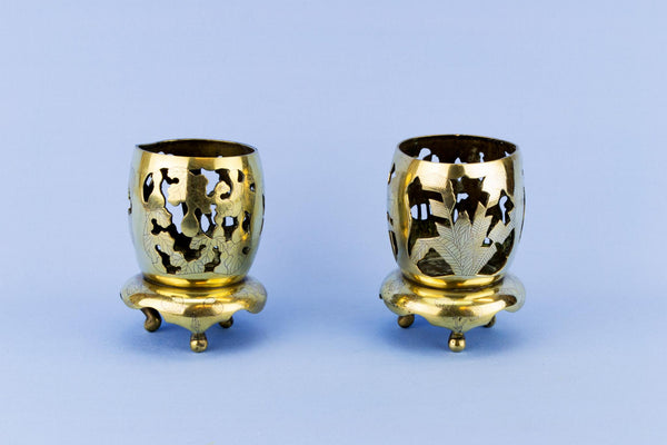 Pair Of Brass Candle Lights, Indian Mid 20th Century