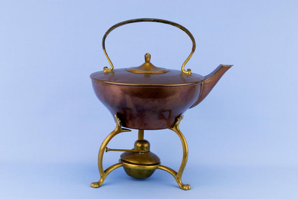 Arts & Crafts Copper Kettle on Stand, English 1890s