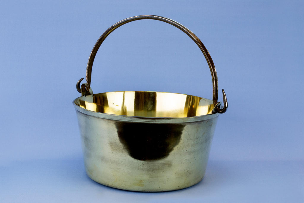 Large brass cooking pan iron handle