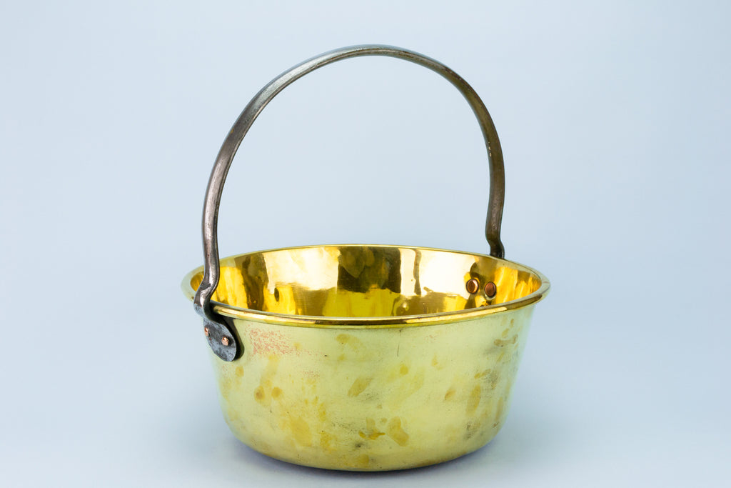 Large Brass Cooking Pan, English Early 1900s