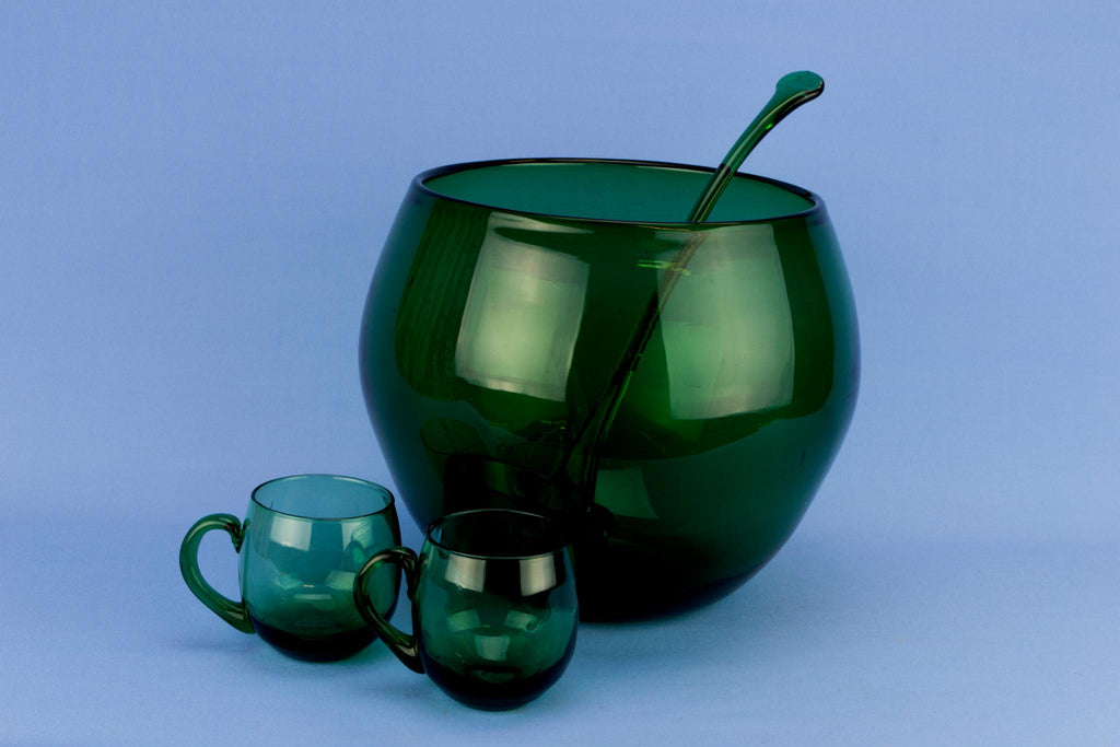Green Glass Punch Bowl 12 Cups & ladle, English circa 1970