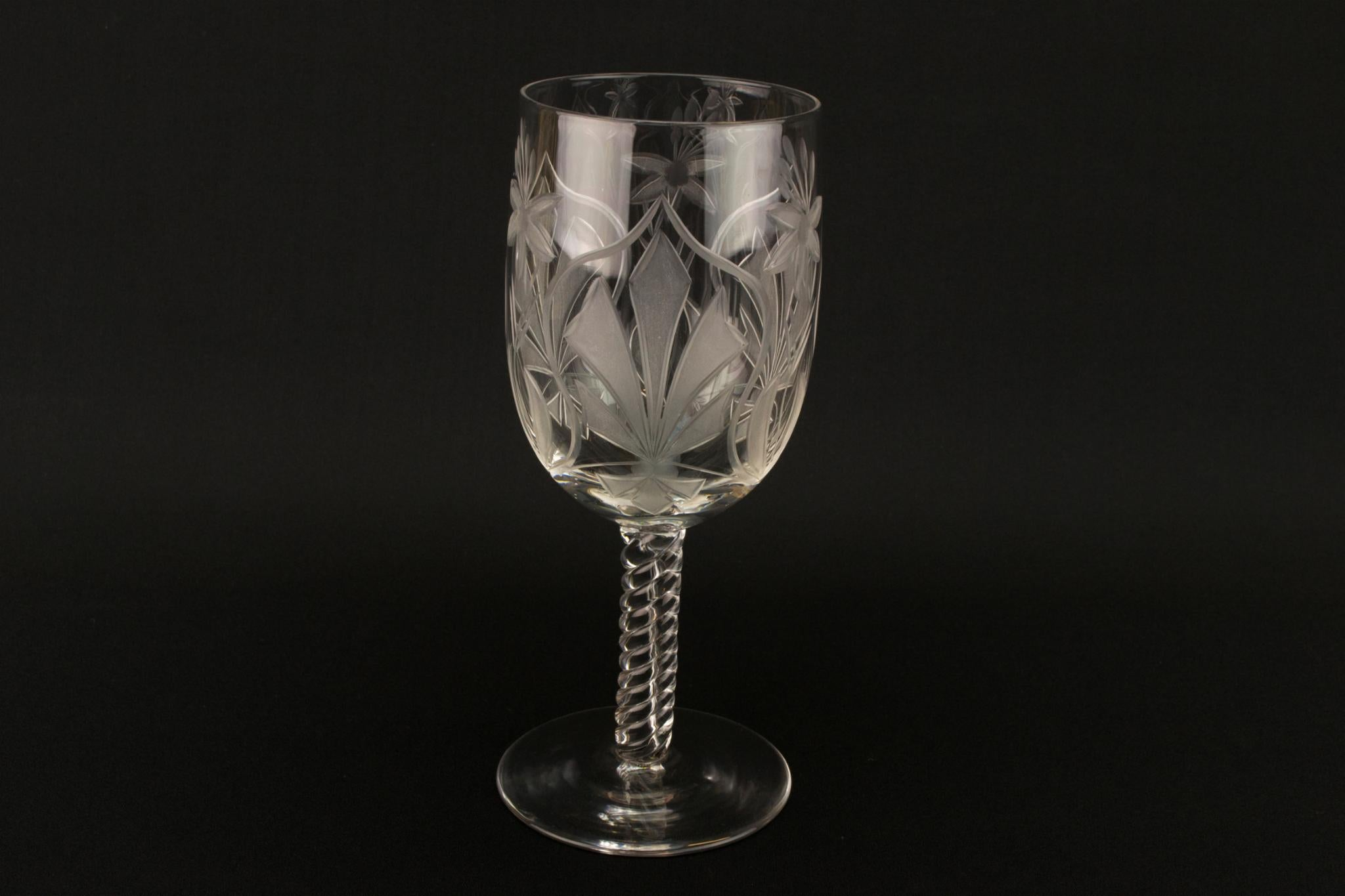 Airtwist Stem Cut Decoration Wine Glass, English 1930s