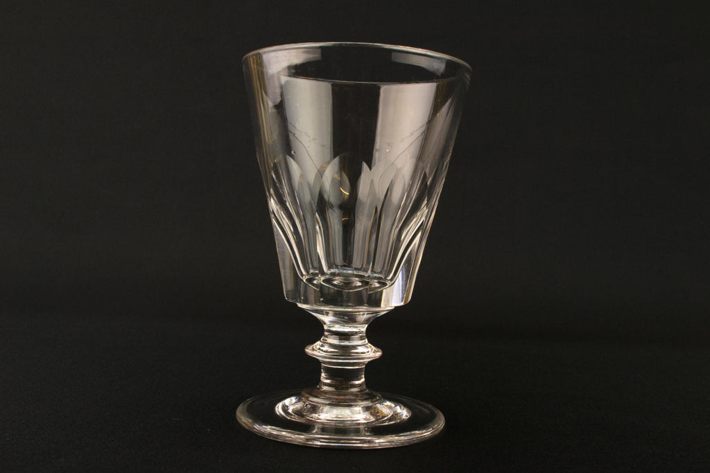 Large Panel Cut Glass Wine Rummer, English Mid 19th Century