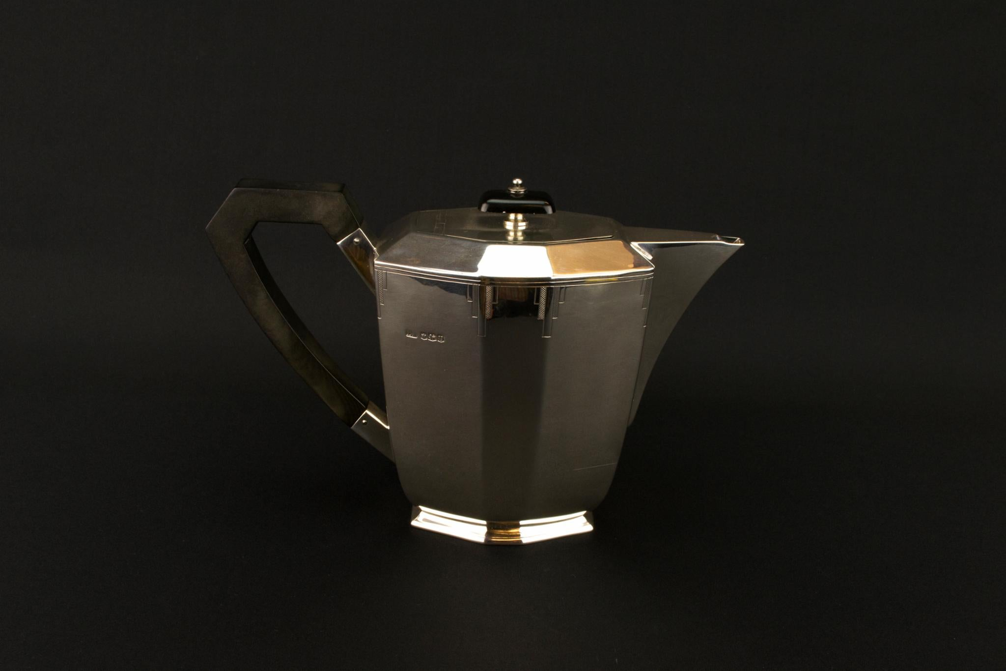 Sterling Silver Art Deco Teapot, English 1937