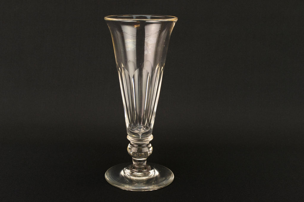 Cut Glass Tall Georgian Champagne Flute, English Early 1800s