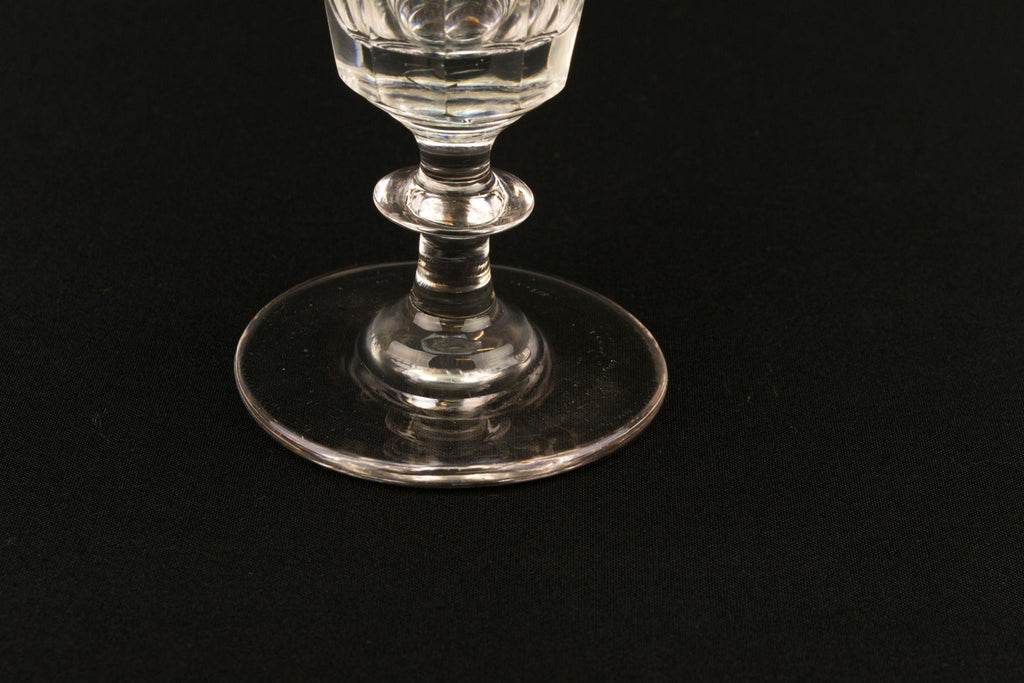Panel Cut Glass Victorian Champagne Flute, English Mid 19th Century