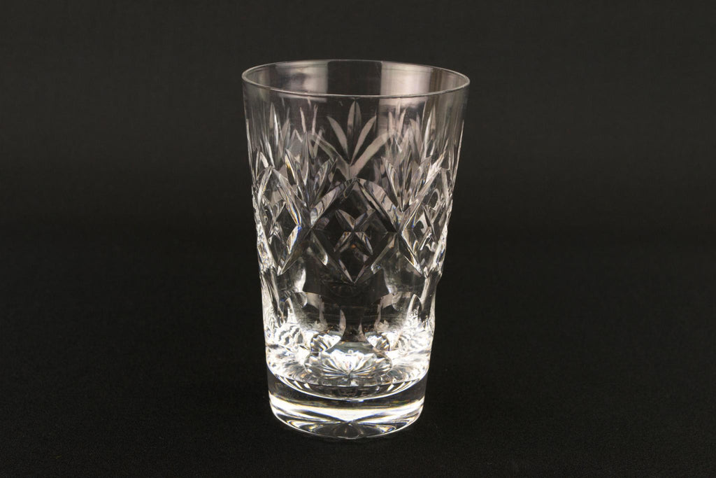 2 Cut Glass Whisky Tumblers, English Mid 20th Century