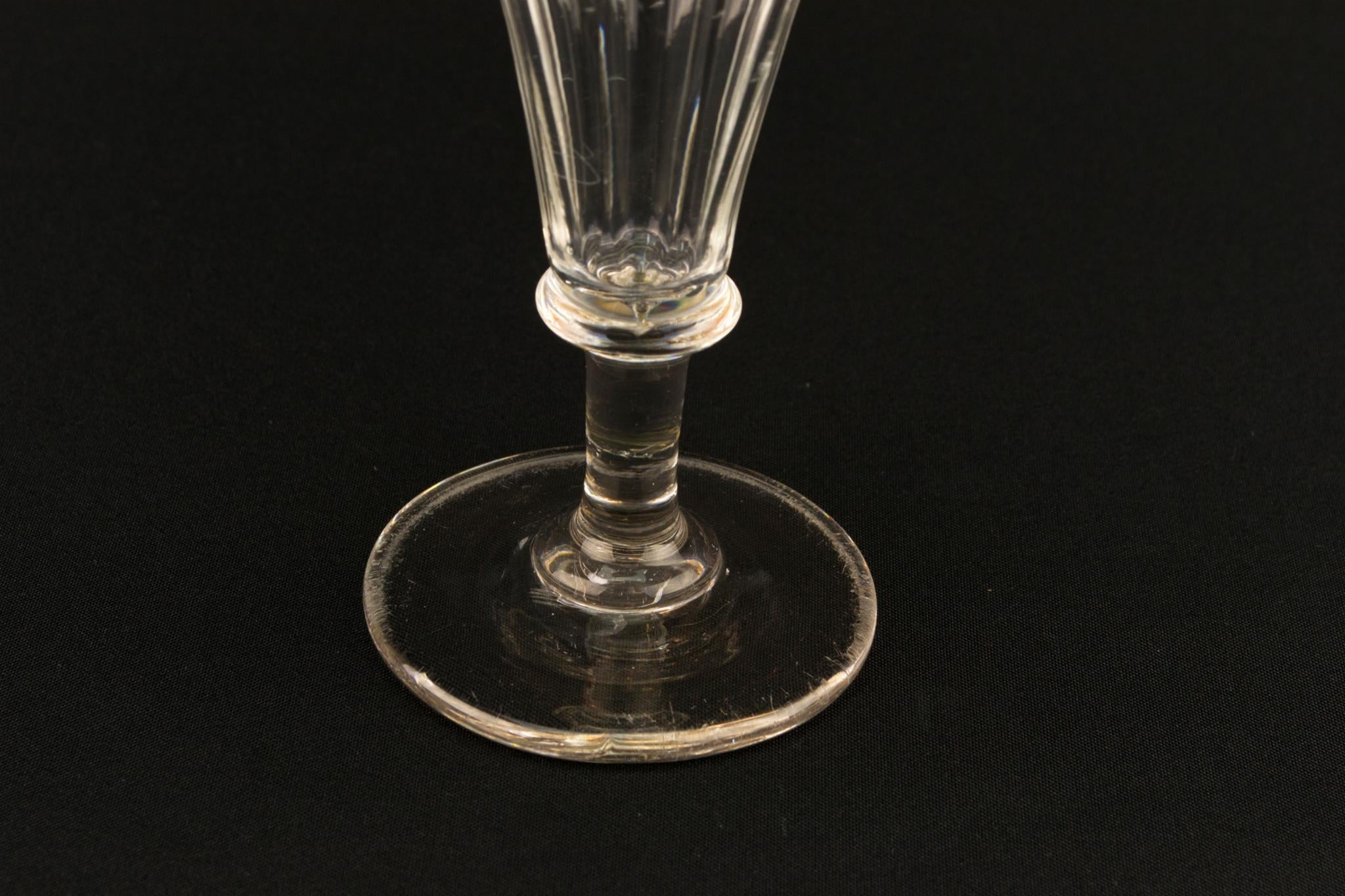 Cut Glass Medium Victorian Champagne Flute, English Mid 19th Century
