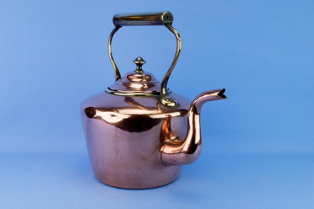 Large Fire Stove Copper Kettle, English 19th Century