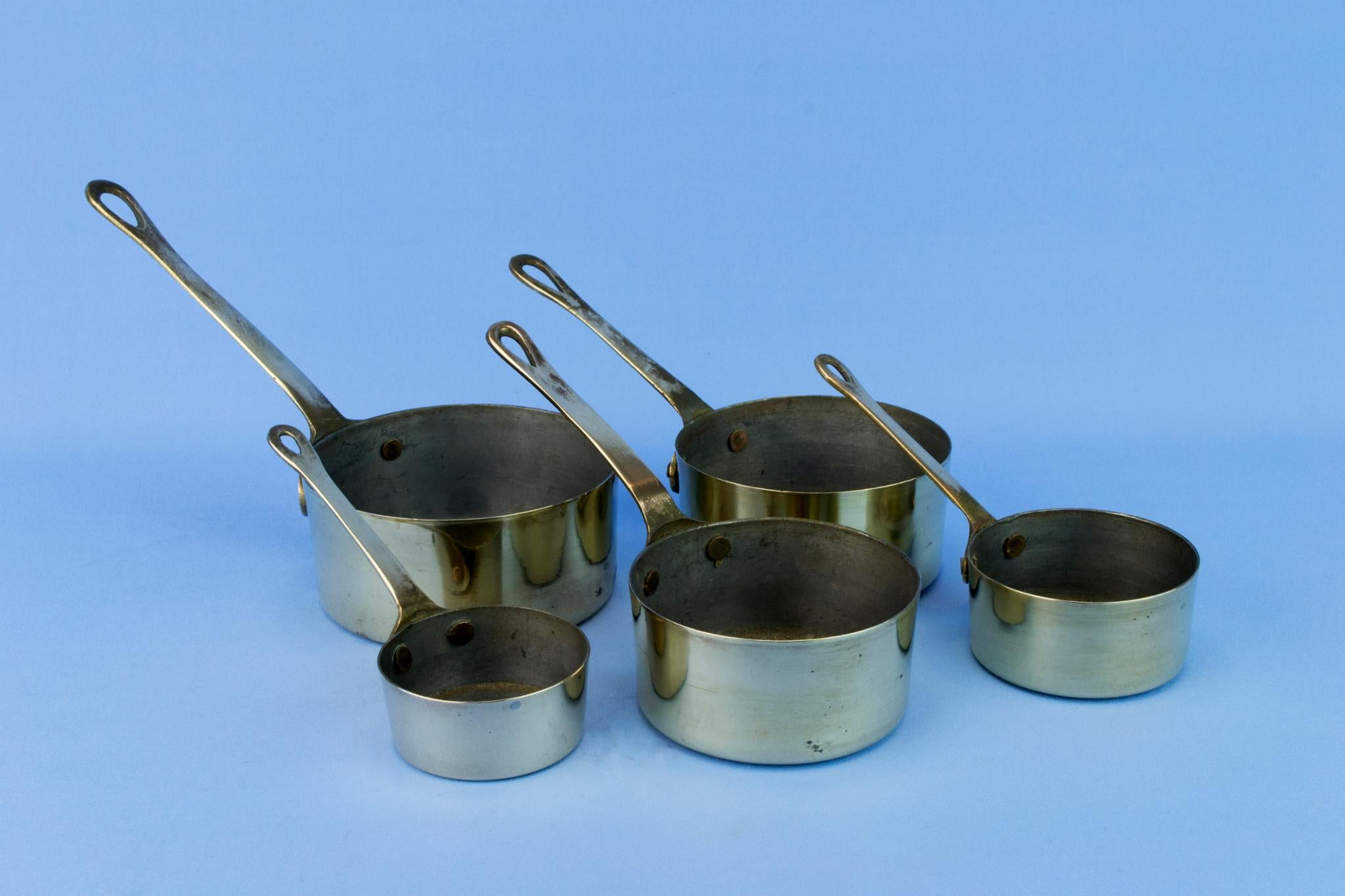 5 Brass Cooking Pana, English Mid 20th Century
