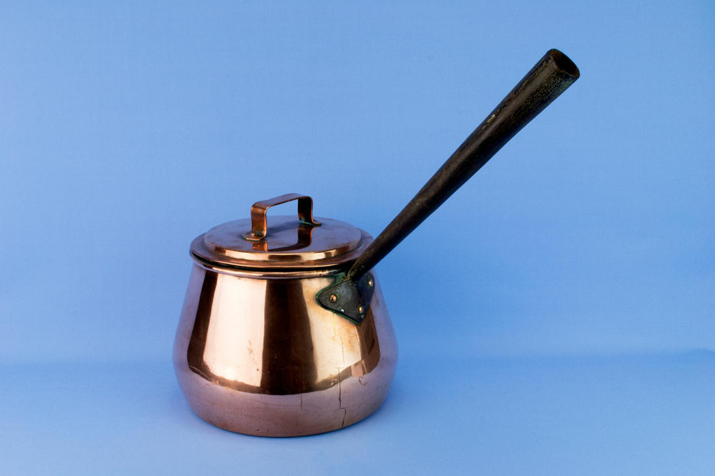 Large Copper Pan and Lid, English Early 1900s