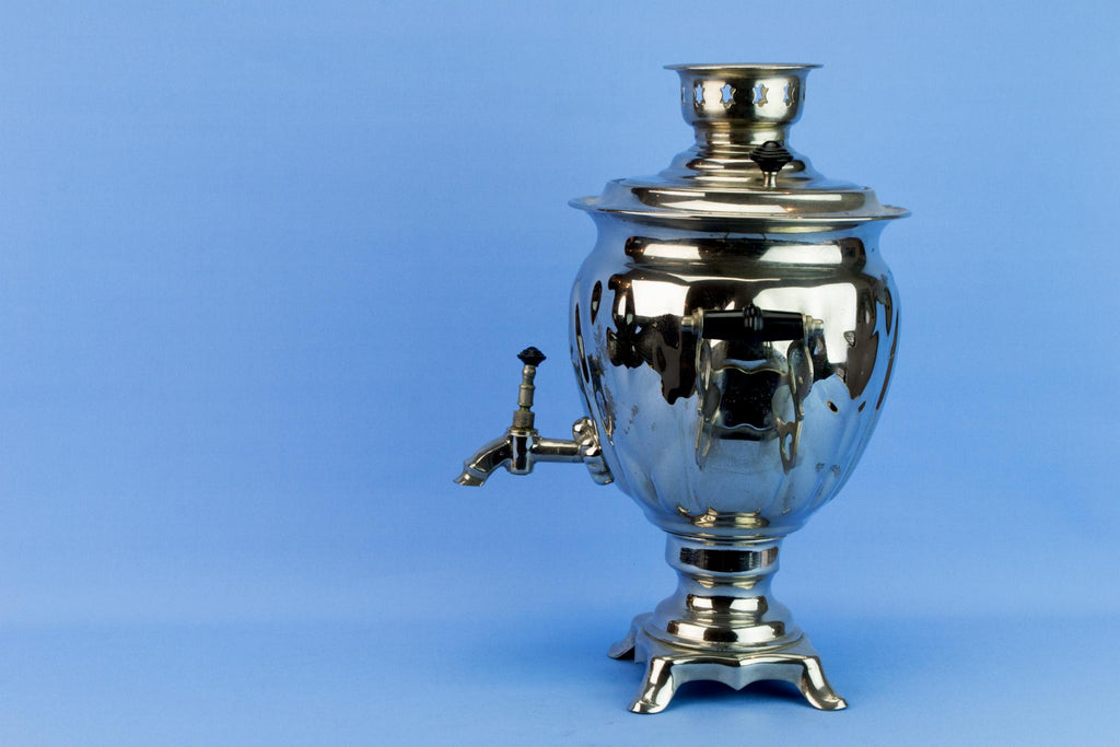 Large Russian Chromed Metal Samovar