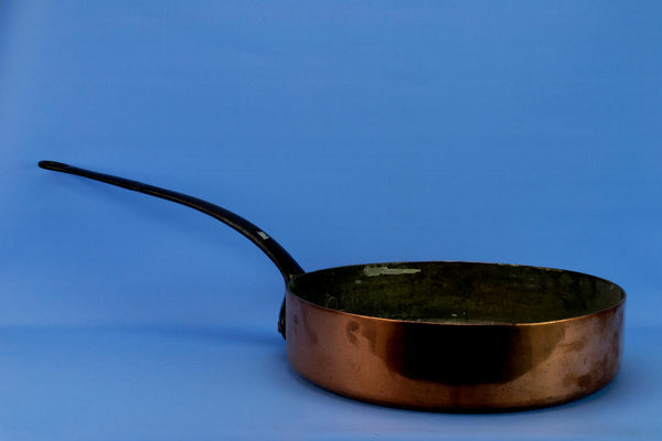 Large Copper Cooking Pan with Iron Handle