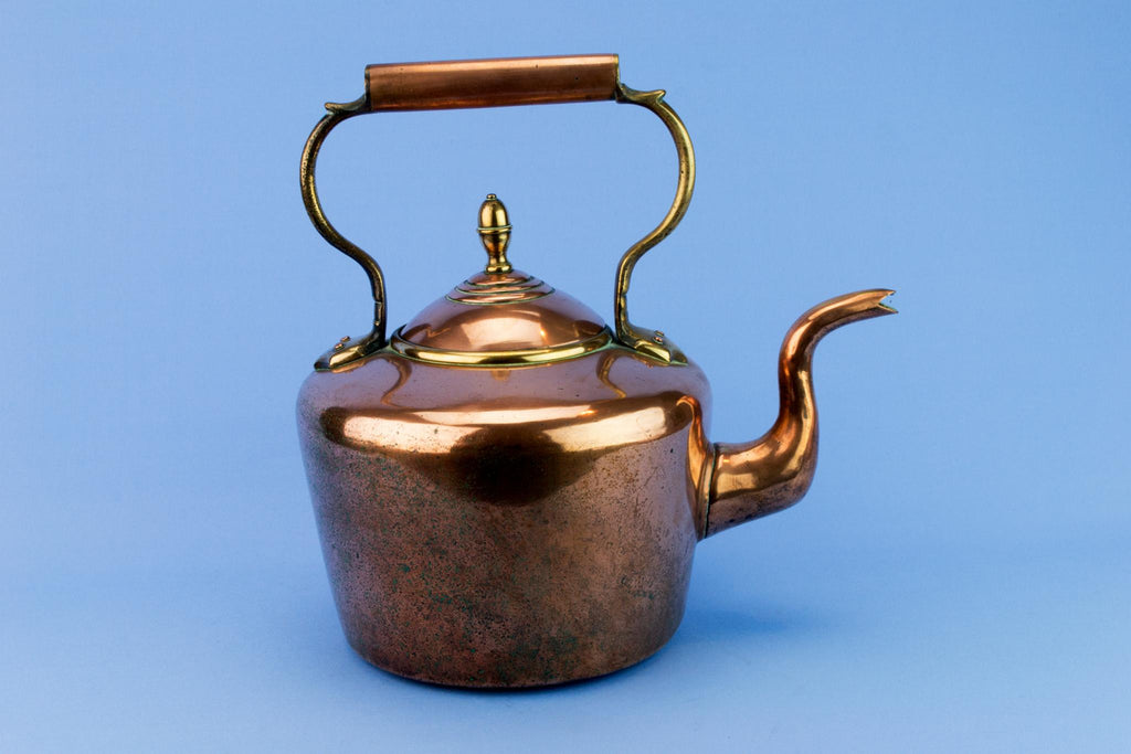Polished Copper Large Kettle, English 1870s
