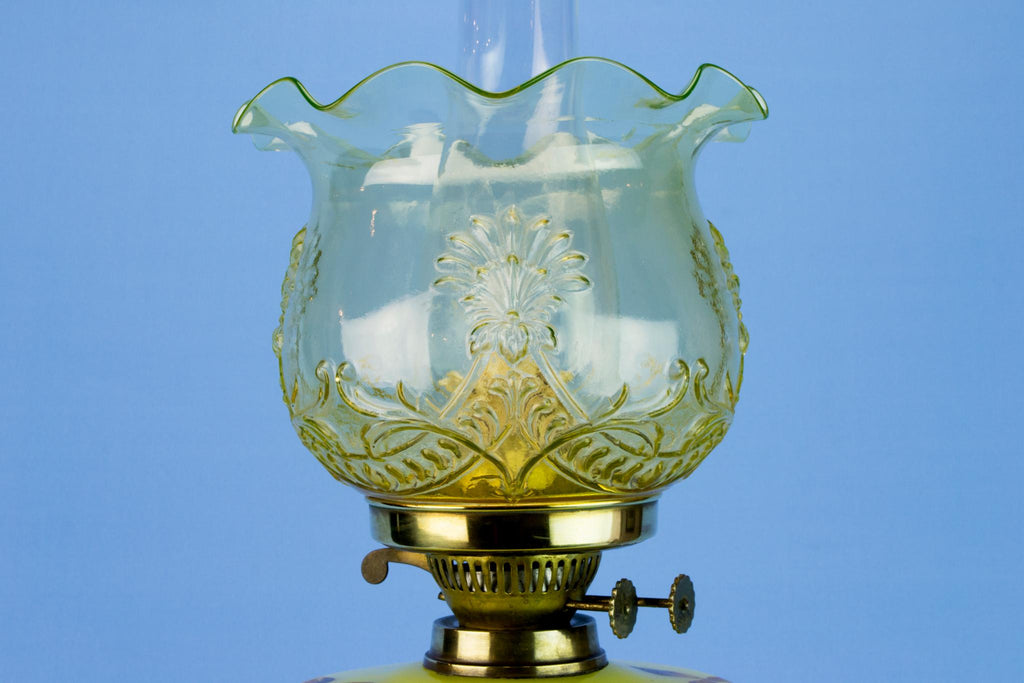 Painted Glass & Brass Victorian Oil Lamp, English Late 19th Century
