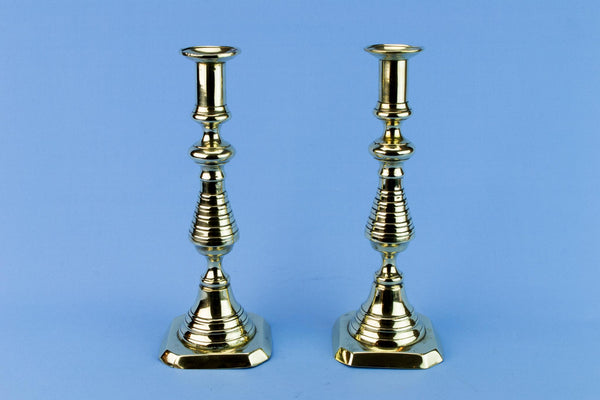 2 Brass Aesthetic Movement Candlesticks, English 19th Century