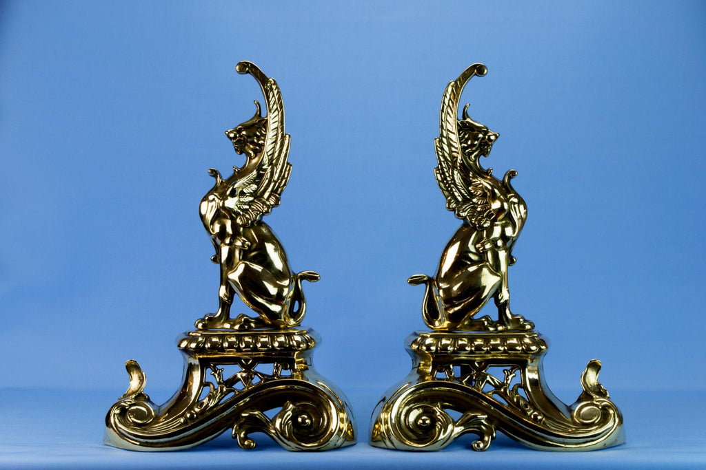 Two Brass Griffin Fireplace Andirons, English Early 1900s