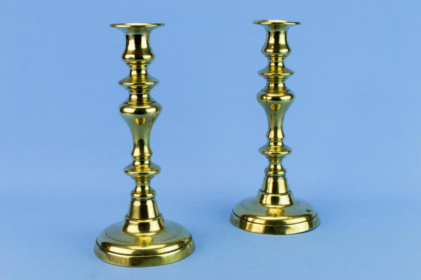 Two Brass Medium Victorian Candlesticks, English 19th Century