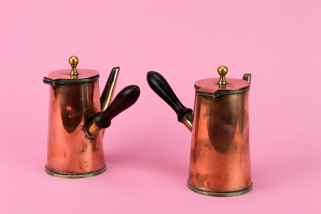 2 Copper Arts & Crafts Coffee Pots, English Circa 1900