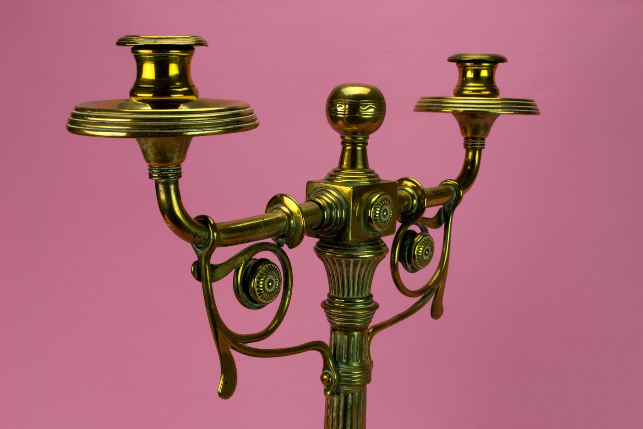 Large Brass & Copper Aesthetic Movement Candelabra, English 1860s