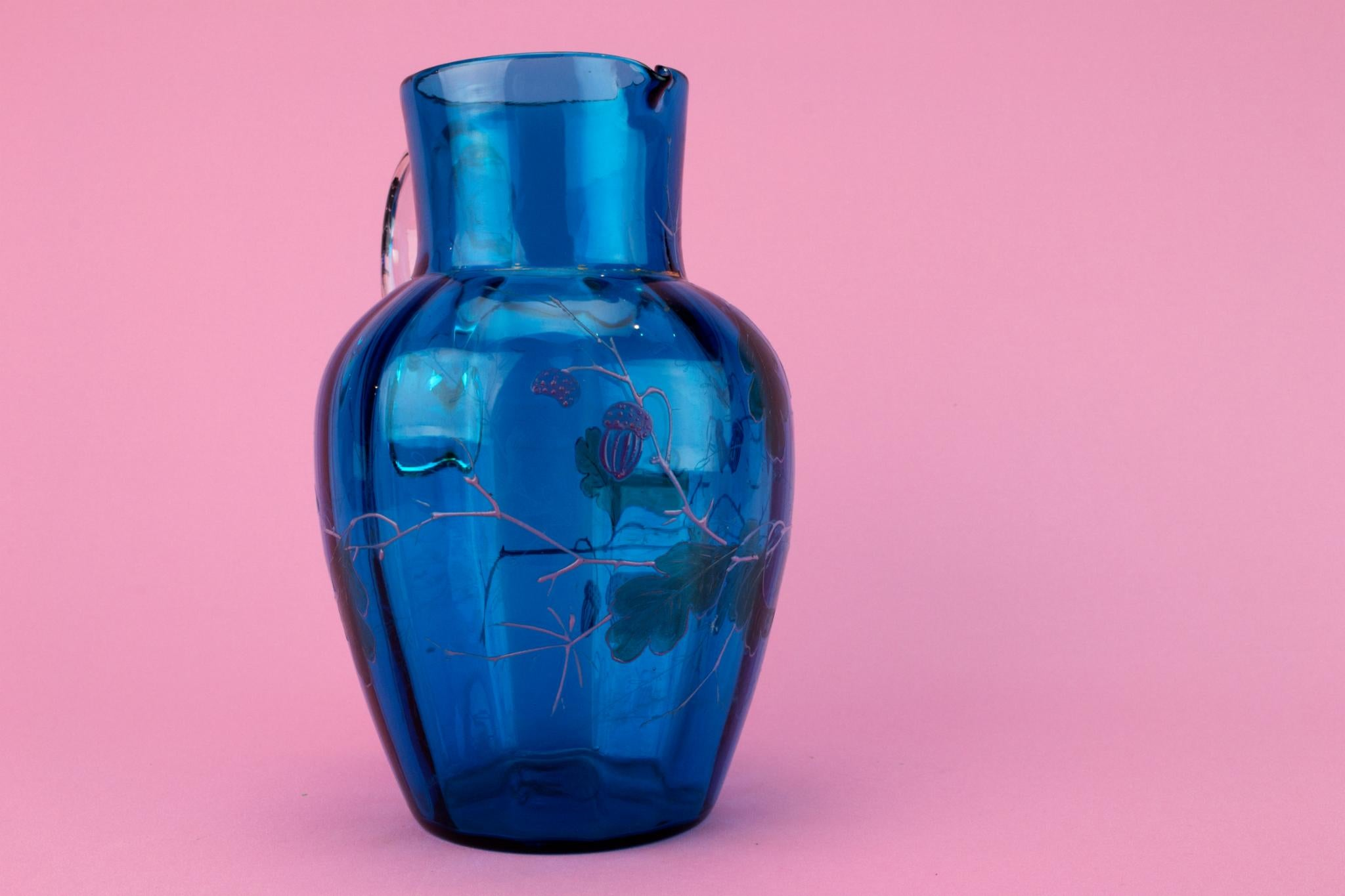 Blue glass painted Jug, English Early 1900s