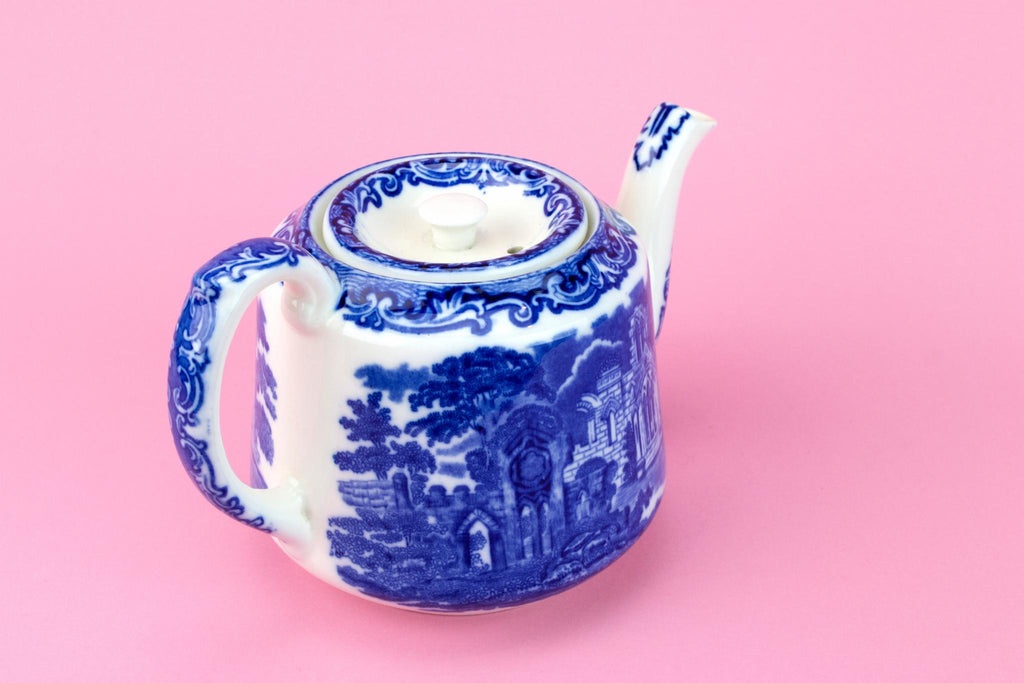 Medium Blue and White Teapot, English Early 1900s