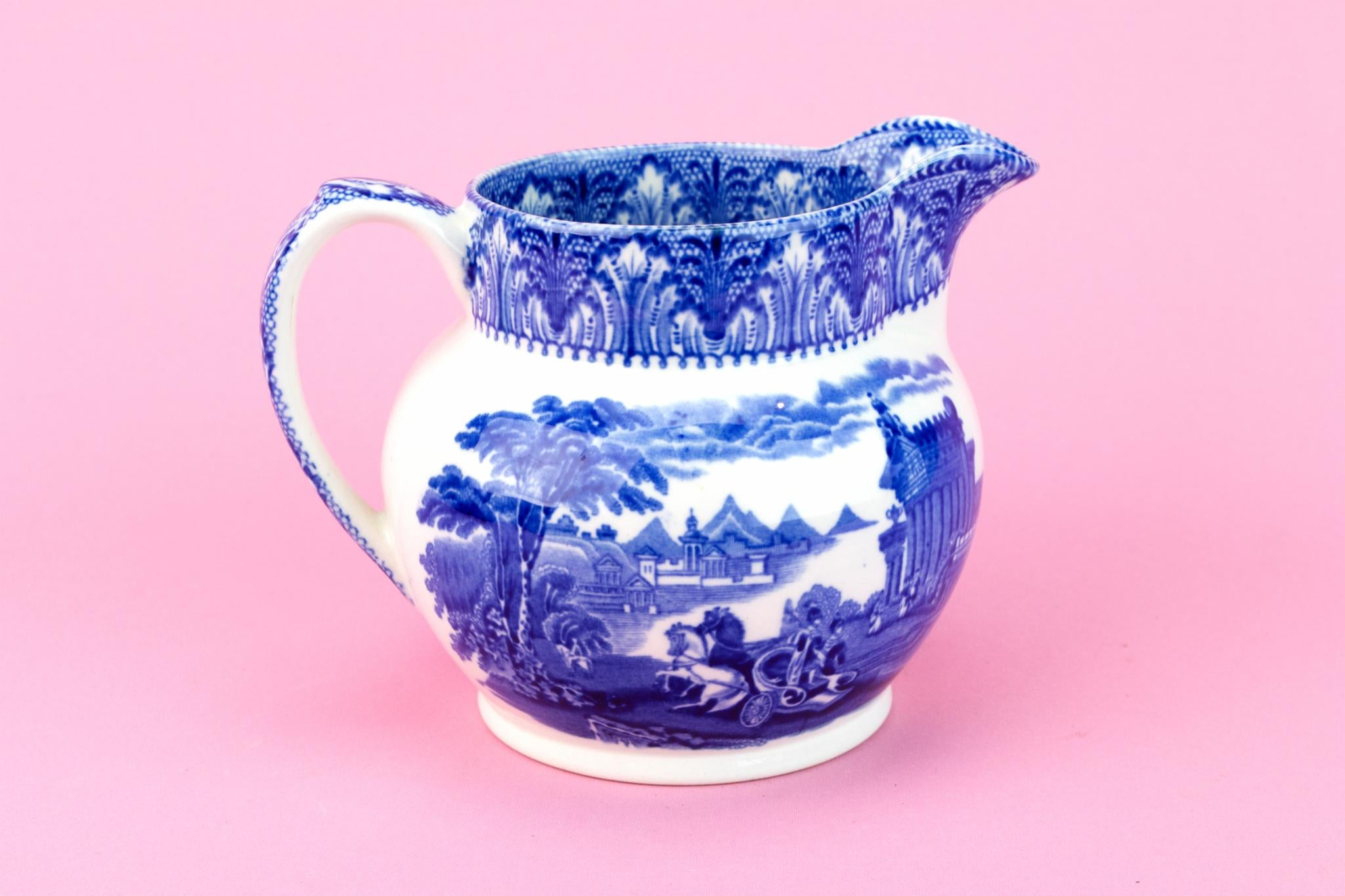 Blue And White Pottery Jug, English 1910s