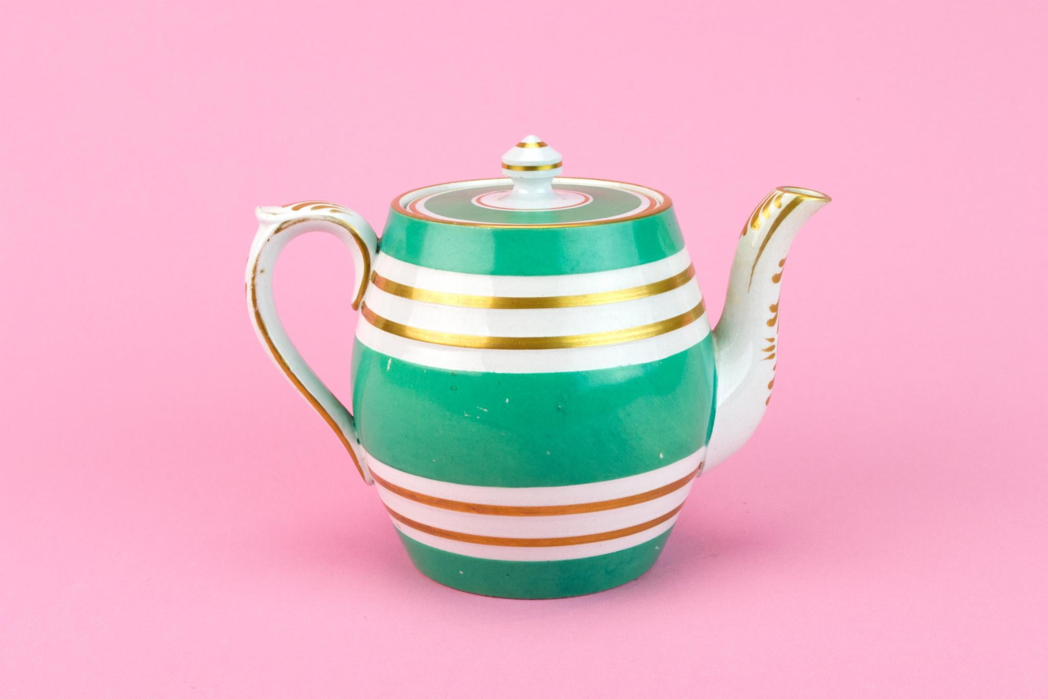 Small Georgian Green and Gold Teapot, English 1830s