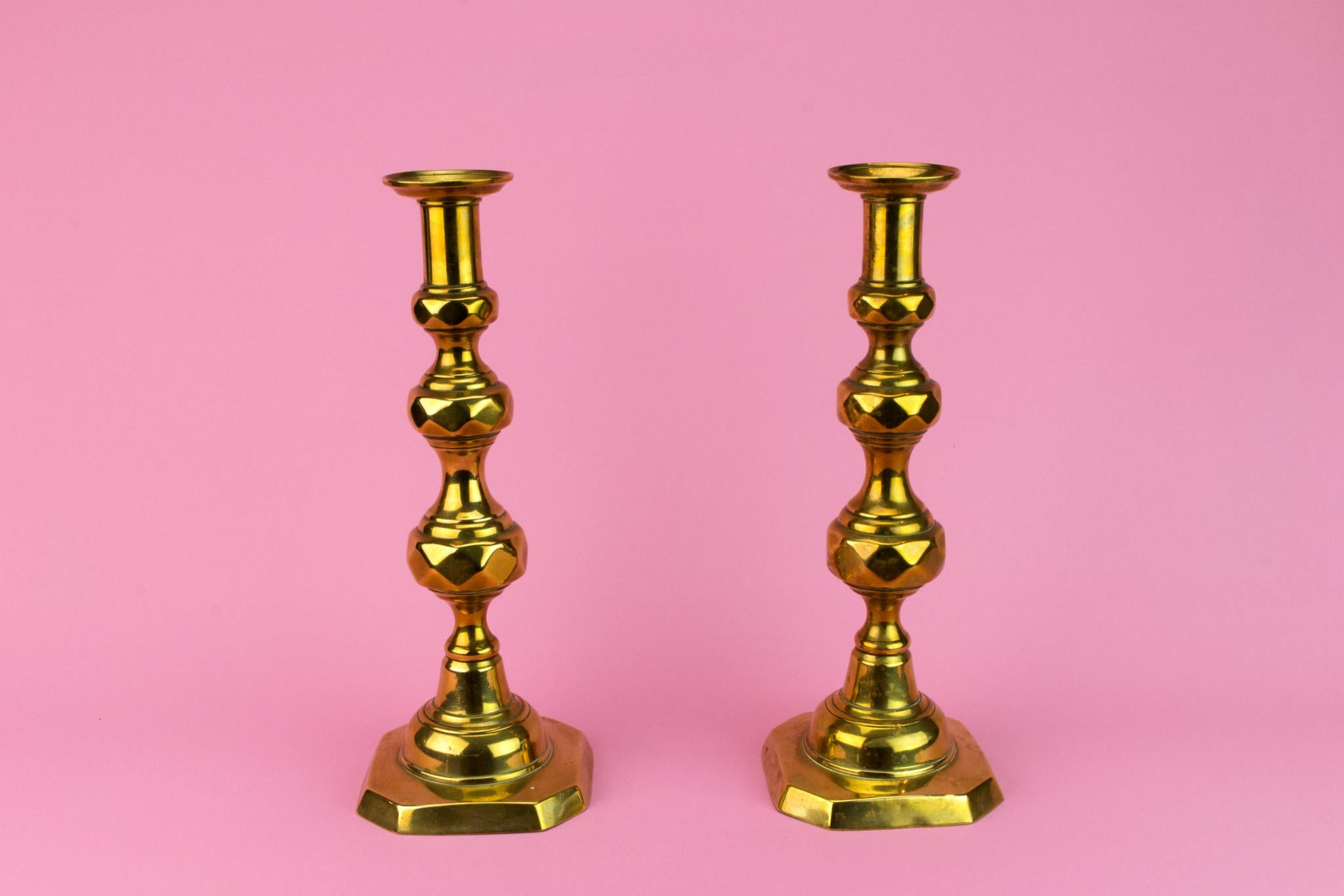 Pair Of Brass Tall Candlesticks, English 19th Century