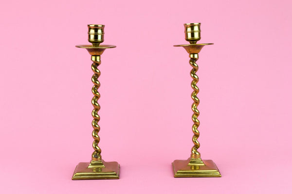 Pair Of Brass Barley Twist Candlesticks, English Late 19th Century
