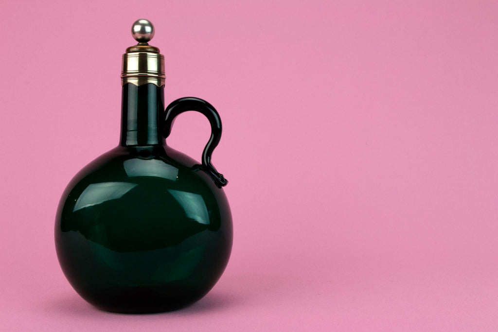 Blown Green Glass Flask Decanter, English Early 1800s