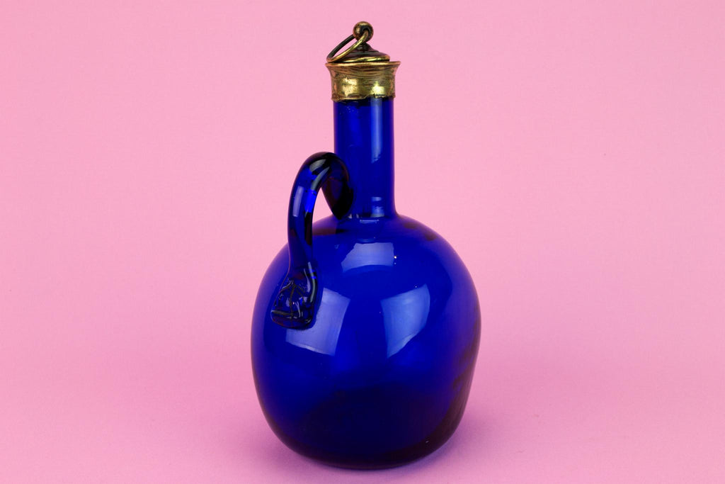 Bristol Blue Glass Decanter, English Early 1800s