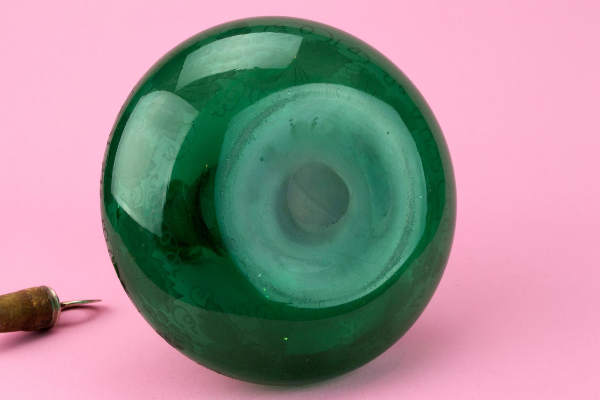 Green Blown Glass Port Decanter, English Circa 1800