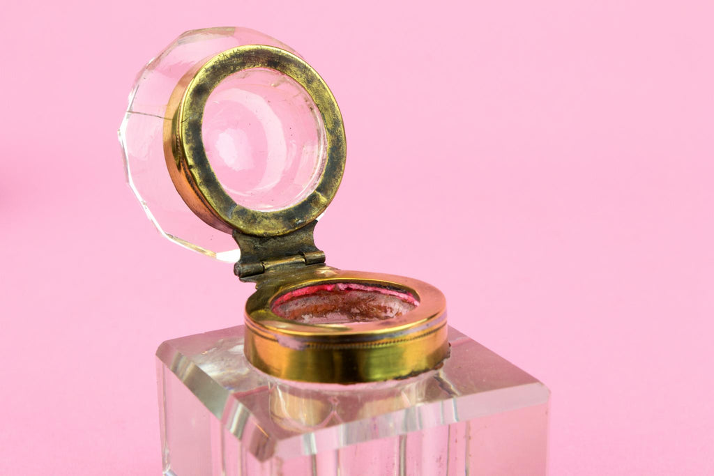 Papier Mache & Mother of Pearl Inkwell, English 1860s