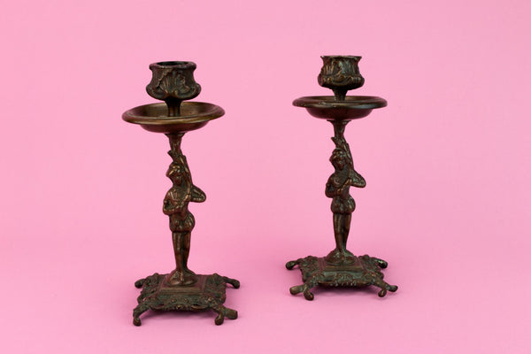 2 Bronze Victorian Candlesticks, English 19th Century