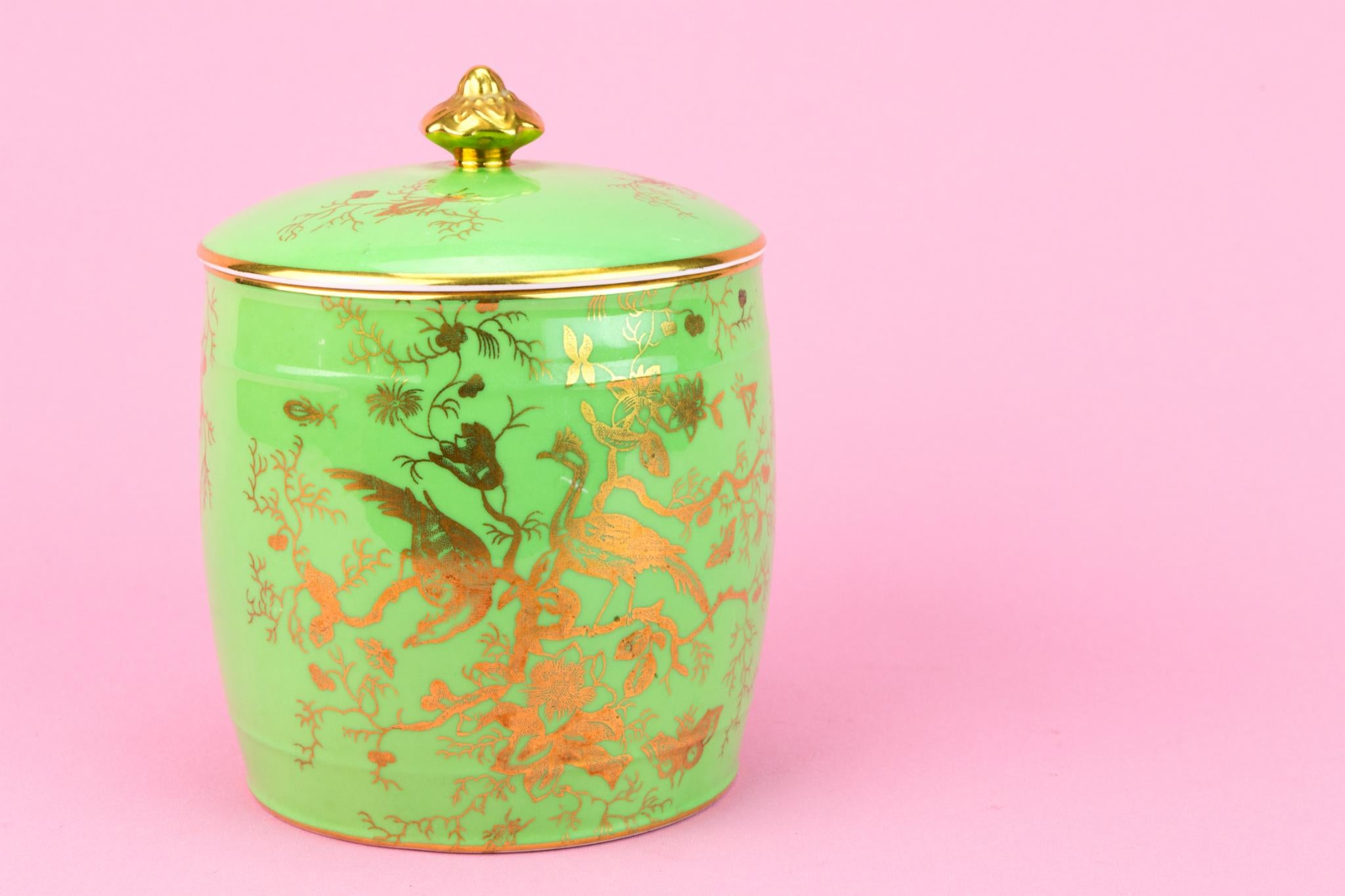 Green Bone China Storage Jar by Coalport