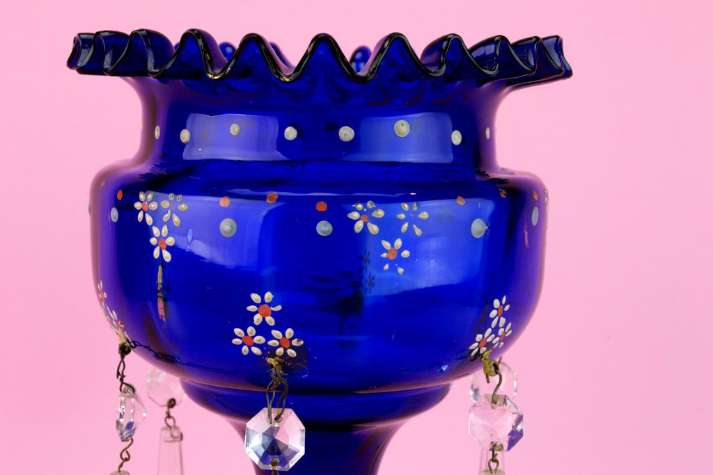 Blue Glass Vase Centrepiece with Crystal Pendants, English 19th Century
