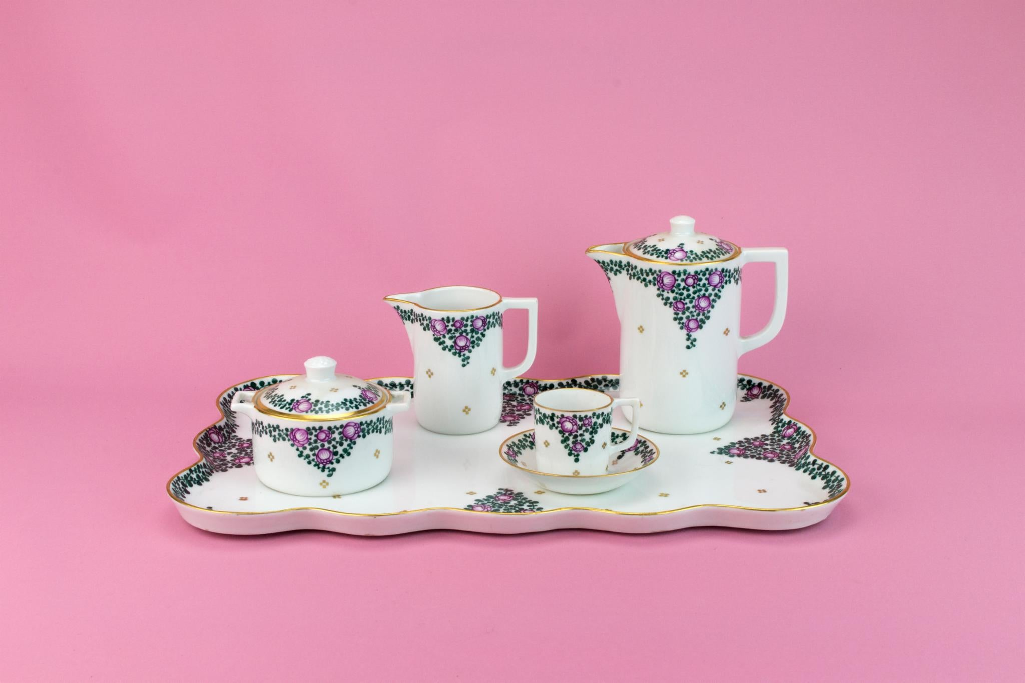 Coffee Set on Tray for One, German Early 1900s
