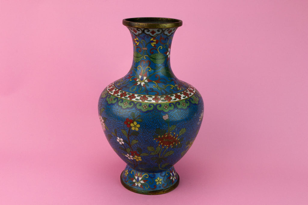 Cloisonne Enamel Blue Brass Vase, Chinese Late 19th Century