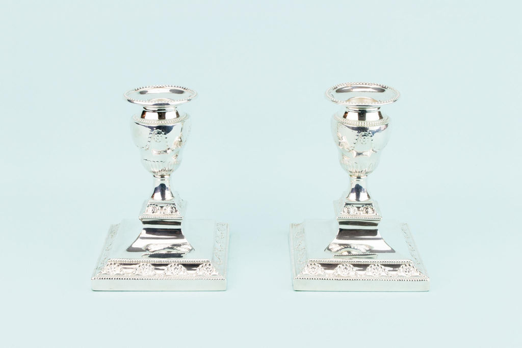 2 Silver Plated Candlestick by Mappin & Webb, English 1930s