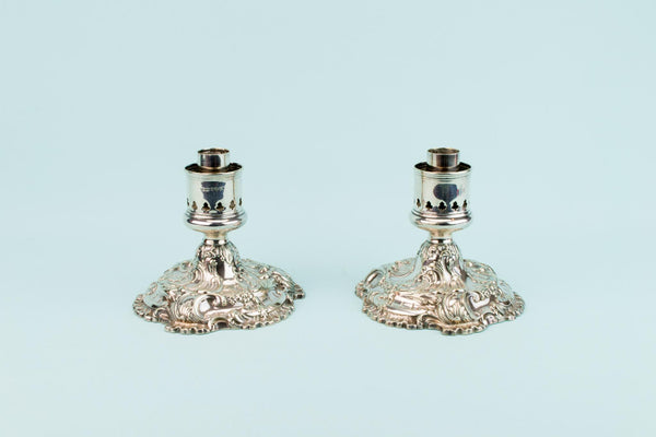 2 Silver Plated Medium Candlesticks, English 19th Century